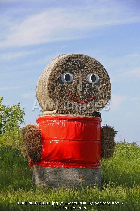 Straw doll made of straw bales, Mecklenburg-Western Pomerania, Germany, Europe