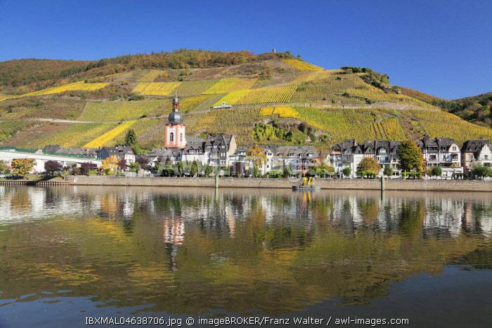 Zell at Moselle, Collis Turm and vineyards, Rhineland-Palatinate, Germany, Europe