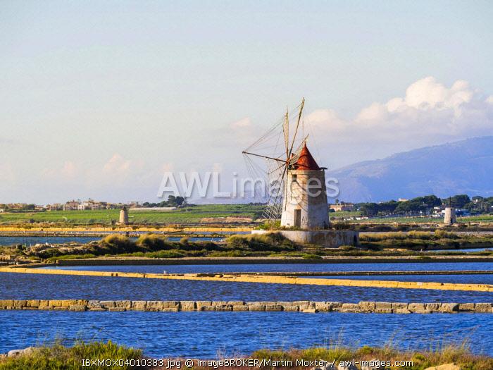 Ettore Infersa Saltworks windmill, Marsala, Laguna dello Stagnone, Province of Trapani, Sicily, Italy, Europe
