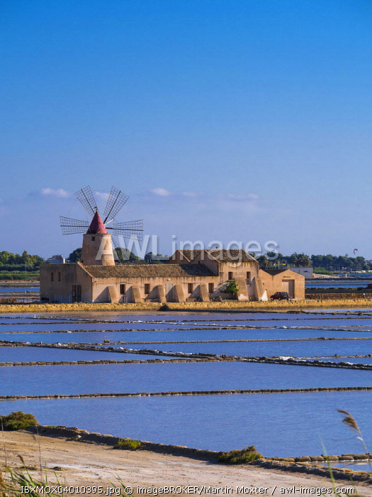 Salt Museum with windmill, saltworks, San Vito lo Capo, Sicily, Italy, Europe