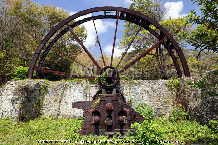 Old sugar cane mill, mill wheel, rusted, Trinidad and Tobago, Central America