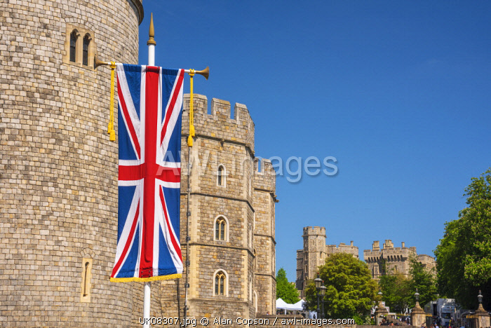 UK, England, Berkshire, Windsor, Windsor Castle, Decorations for wedding of Prince Harry and Meghan Markle