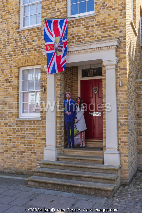 UK, England, Berkshire, Windsor, Park Street, Decorations for wedding of Prince Harry and Meghan Markle