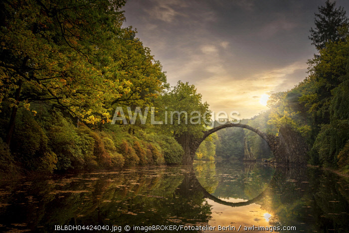 Rakotzbrucke or Teufelsbrucke, bridge in Kromlauer Park, Kromlau, Saxony, Germany, Europe