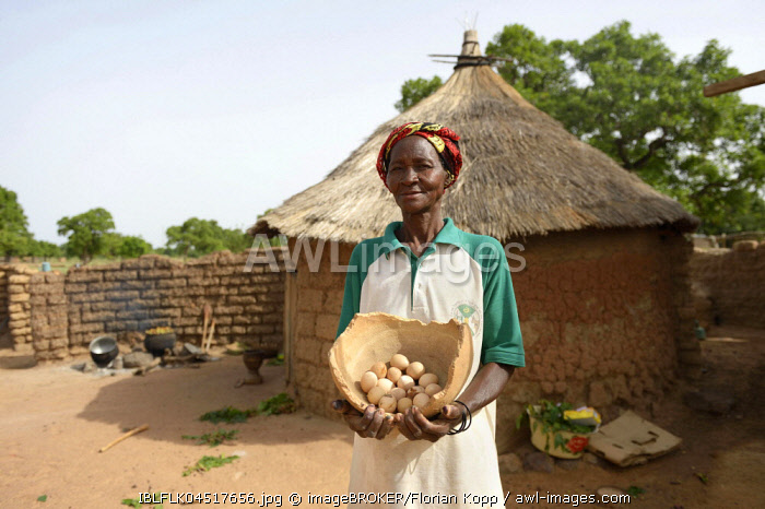Woman, farmer proudly showing eggs from her chickens, Toeghin village, Oubritenga province, Plateau Central region, Burkina Faso, Africa *** IMPORTANT: Use by development aid organizations in Germany only after consultation. ***