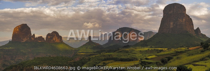 Rock formations and fields at the edge of Simien Mountains national park, Ethiopia, Africa