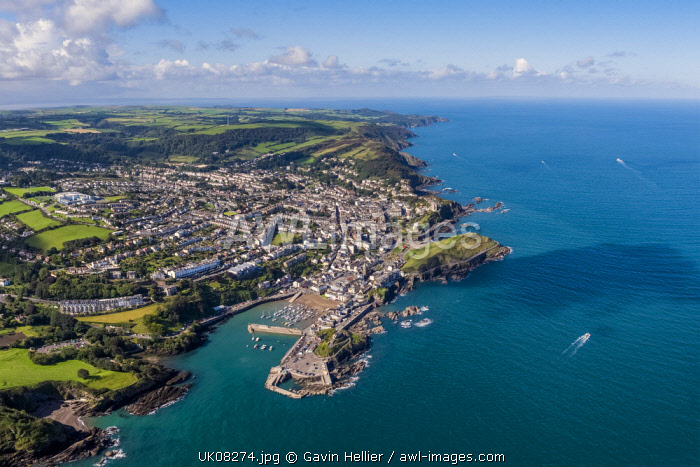 United Kingdom, Devon, North Devon coast, Ilfracombe, aerial view over the town