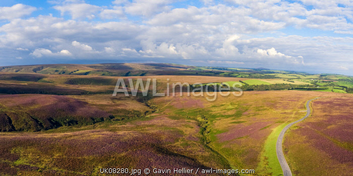United Kingdom, Devon, Exmoor National Park, aerial view over the moors