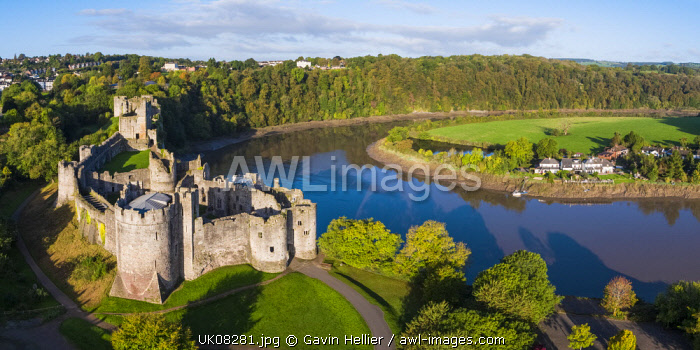United Kingdom, Wales, Gwent, Chepstow Castle, River Wye