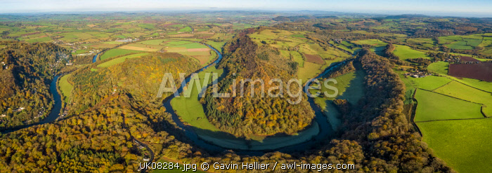 Aerial view of the Wye valley towards Ross on Wye, Symonds Yat, Forest of Dean, Gloucestershire, England