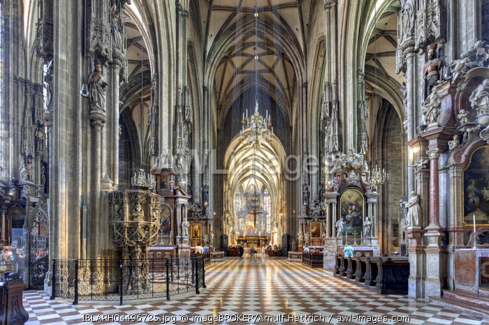Interior of St. Stephen's Cathedral, St. Stephen's Cathedral, Nave, Vienna, Austria, Europe