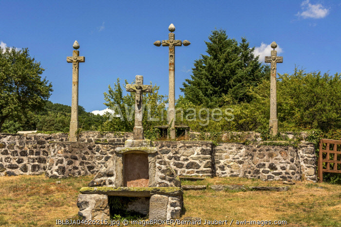 The calvary of Rosières village, Haute Loire department, Auvergne-Rhône-Alpes, France, Europe