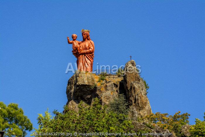 Notre-Dame De France, statue at the top of Rocher Corneille, Le Puy en Velay, Haute-Loire department, Auvergne-Rhone-Alpes, France, Europe