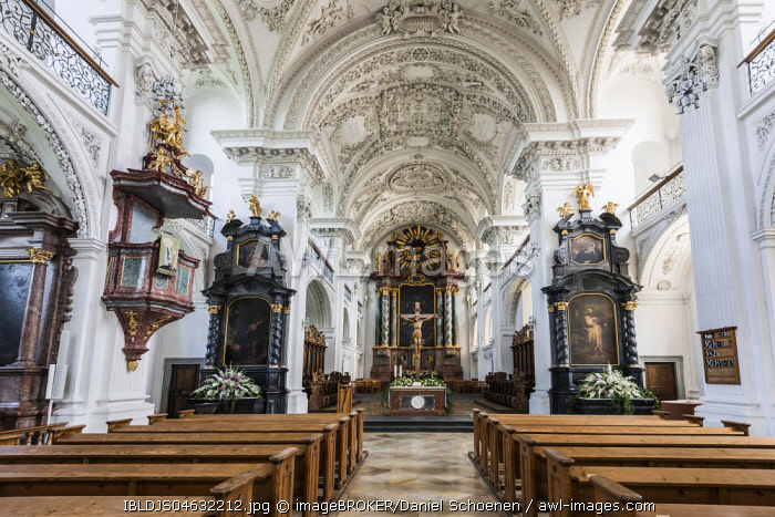 Interior view, choir stalls, Castle church, Friedrichshafen, Lake Constance, Baden-Württemberg, Germany, Europe