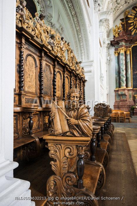 Interior view, choir stalls, Castle church, Friedrichshafen, Lake Constance, Baden-Württemberg, Germany, Europe