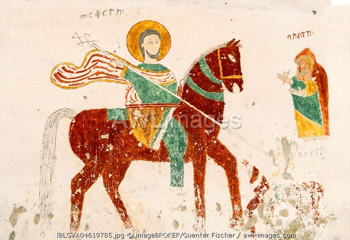 Saint Mercurius on a dark brown horse, fresco inside the rock church of Daniel Qorqor, Gheralta Region, Tigray, Ethiopia, Africa