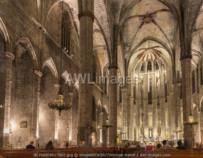 Church nave, Santa Maria del Pi, Barcelona, Catalonia, Spain, Europe