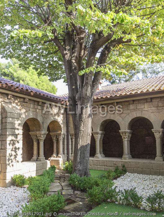 Romanesque church cloister, Poble Espanol de Montjuic, Barcelona, Catalonia, Spain, Europe