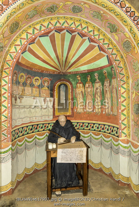 Apsis and figure of a writing priest, Romanesque Church, Poble Espanol de Montjuic, Barcelona, Catalonia, Spain, Europe