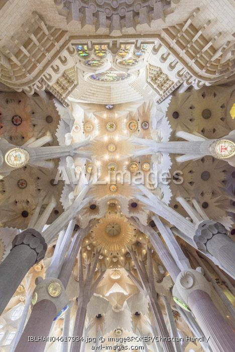 Interior view of the Sagrada Familia by Antoni Gaudi, Barcelona, Catalonia, Spain, Europe
