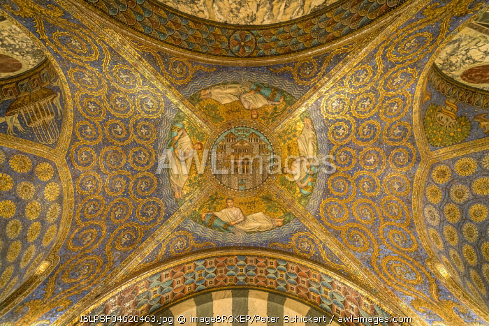 Ceiling mosaic Civitas Dei, Aachen Cathedral, Aachen, North Rhine-Westphalia, Germany, Europe