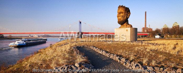 Sculpture echo of Poseidon, artist Markus Lüpertz, Mercator Island, Port of Duisburg, Ruhrort, Duisburg, Ruhr area, North Rhine-Westphalia, Germany, Europe