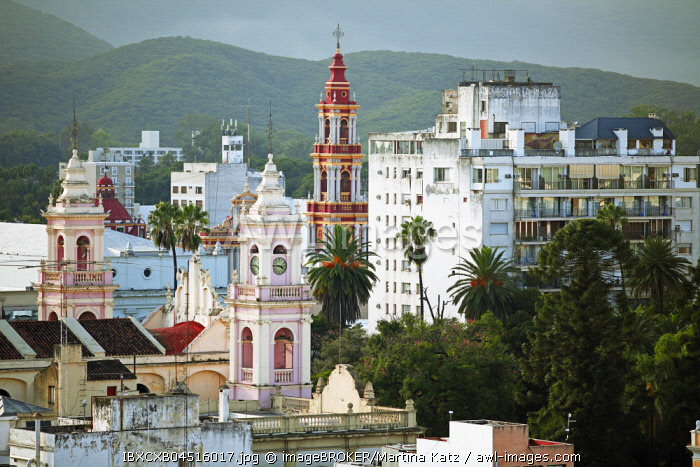Cityscape with Cathedral and Iglesia San Francisco, Salta, Salta province, Argentina, South America