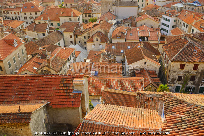 Rooftop view across the old town, Kotor, Montenegro, Europe