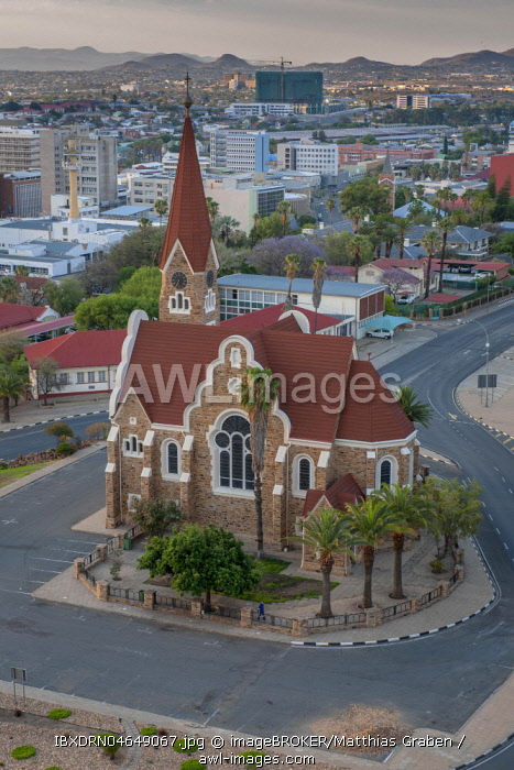 Evangelical Lutheran Christ Church of 1910 with an overview of the city, Windhoek, Namibia, Africa