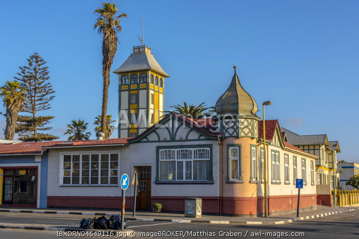 Street with restored houses from the colonial period, Swakopmund, Erongo District, Namibia, Africa