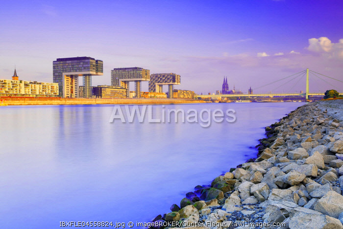 View over the Rhine to Rheinauhafen, Kranhauser, Cologne Cathedral, Severinsbrucke, Cologne, North Rhine-Westphalia, Germany, Europe