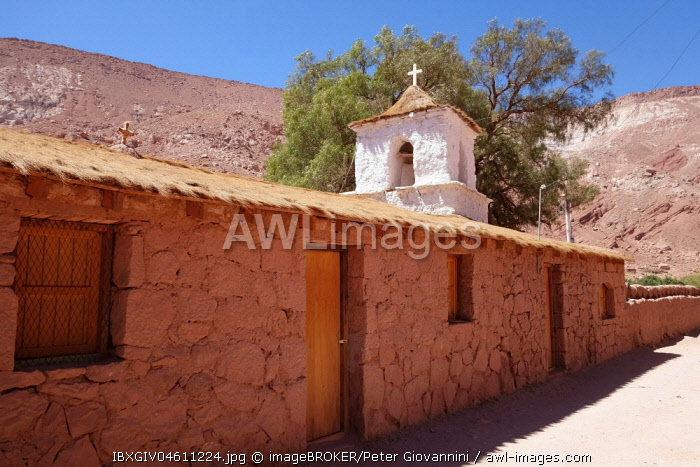 Church in the Adobese style with thatched roof, Santiago de Rio Grande, El Loa, Antofagasta, Chile, South America