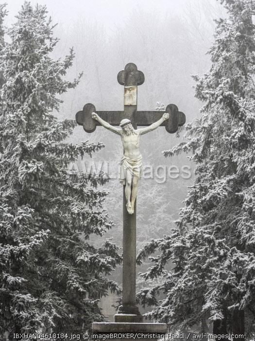 Great cross at cemetery, Berndorf, Lower Austria, Austria, Europe