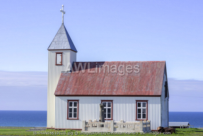 Outside view church, Saudanes, Austurland, Iceland, Europe
