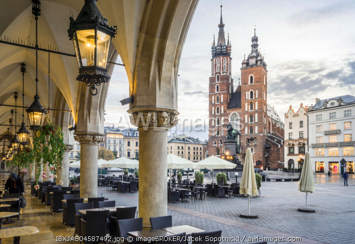 Cloth Hall and Saint Mary's Basilica on main Market Square in Krakow, Poland, Europe