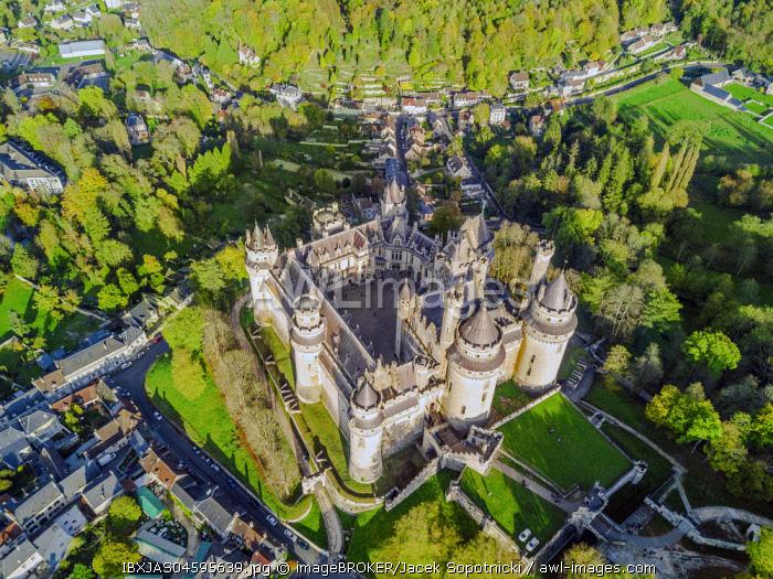 Castle, aerial shot, Pierrefonds, France, Europe