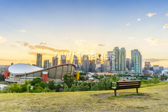 Downtown of Calgary at sunset during summertime, Alberta, Canada, North America