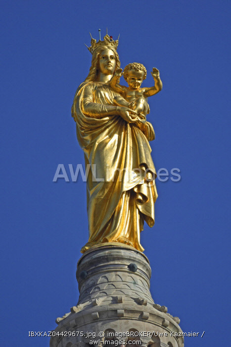 Gold plated statue of the Virgin and Child, spire of the church Notre Dame de la Garde, Marseille, department Bouches-du-Rhone, Provence-Alpes-Cote d' Azur, France, Europe