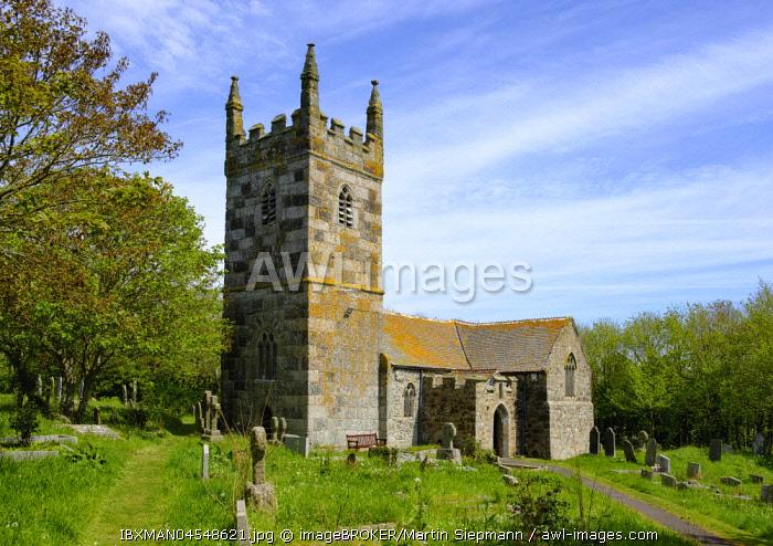 St Wynwallow's Church in Landewednack, Lizard, Lizard Peninsula, Cornwall, England, United Kingdom, Europe