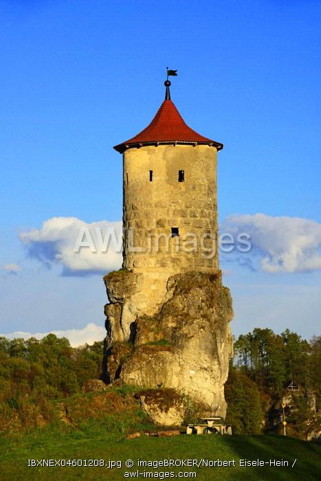 Wehrturm Steinerner Beutel, near Waischenfeld, Franconian Switzerland, Upper Franconia, Bavaria, Germany, Europe