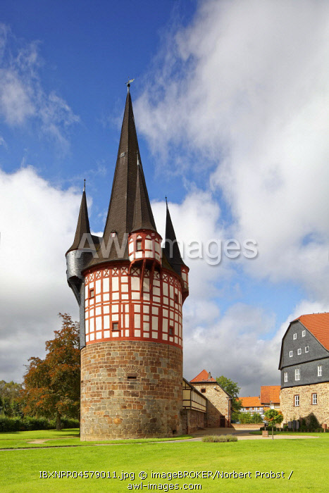 Junker-Hansen-Tower, defense defence tower, largest half-timbered circular building in the world, Neustadt, Hesse, Germany, Europe