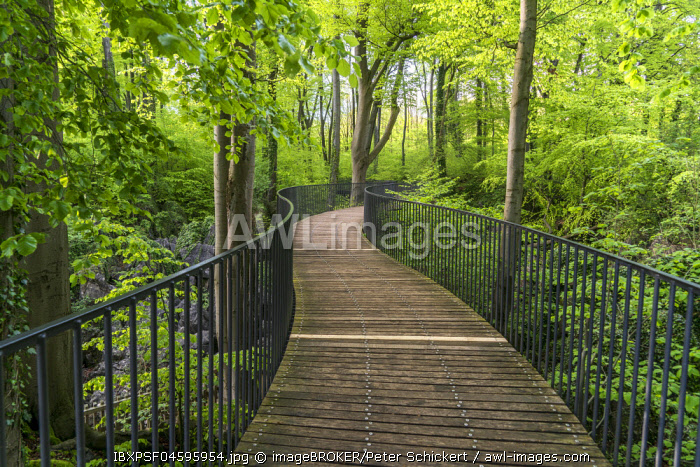 Pedestrian walkway, Rocky sea, Sauerlandpark, Hemer, Sauerland, North Rhine-Westphalia, Germany, Europe