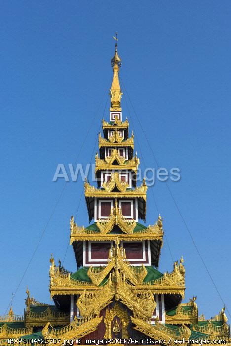 Ornate roof, Shwedagon Pagoda, Yangon, Myanmar, Burma, Asia