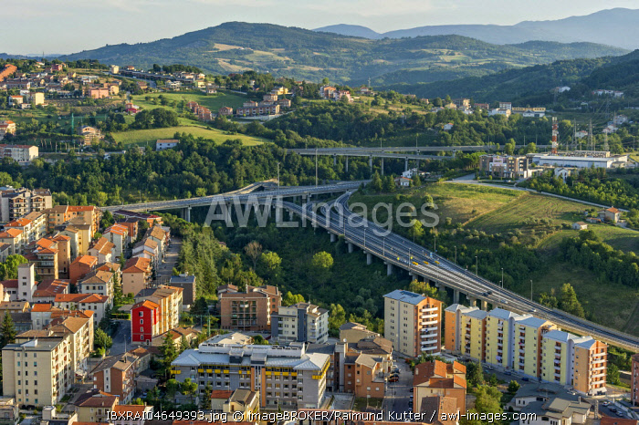 View from Castello Monforte over apartment blocks and motorway junction, Campobasso, Molise, Italy, Europe