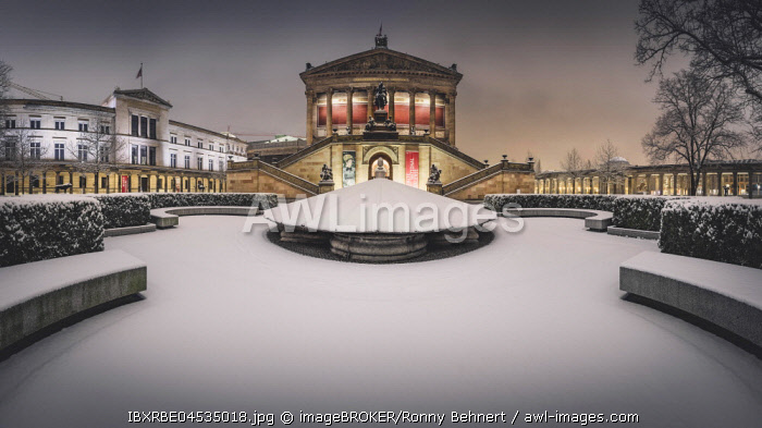 Old national gallery in winter at snow, dusk, Berlin, Germany, Europe