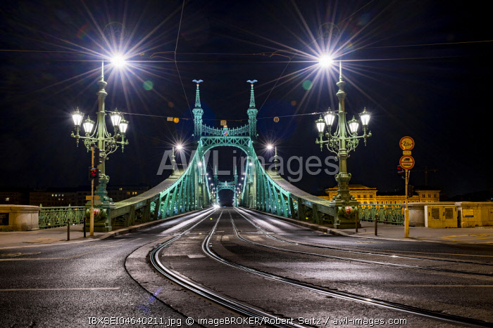 Freiheitsbrücke by night, Budapest, Hungary, Europe