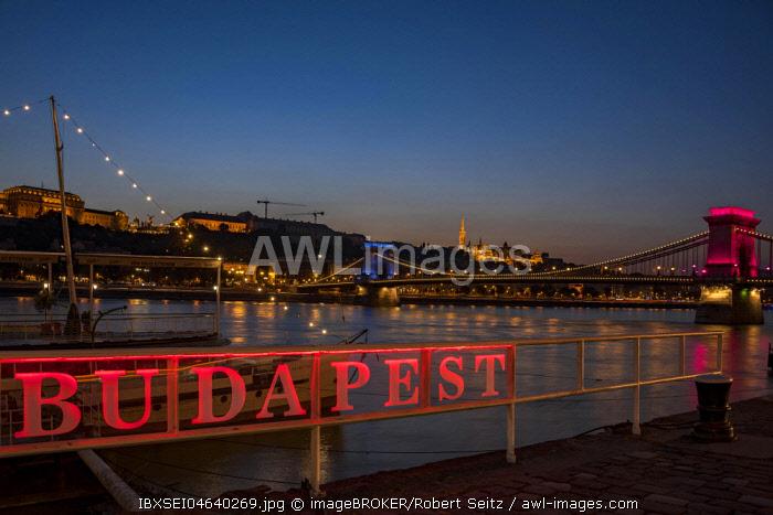 Illuminated Budapest sign with Danube and Chain Bridge, Evening Twilight, Budapest, Hungary, Europe