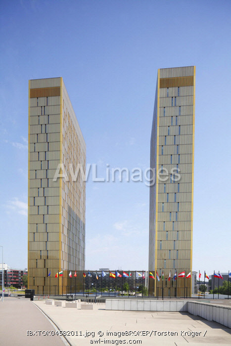 European Court of Justice with European Flags, EU Building, Kirchberg, European Centre, Luxembourg City, Luxembourg, Luxembourg, Europe