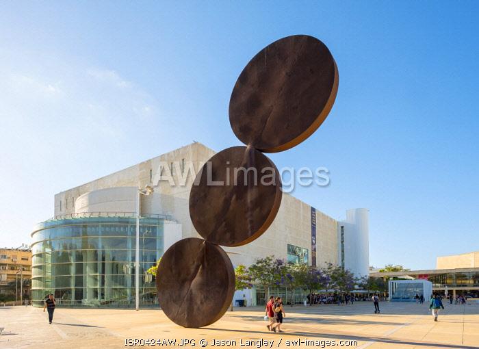 Israel, Tel Aviv District, Tel Aviv-Yafo. Ha-Bima Square and HaBima Theatre, the national theatre of Israel.