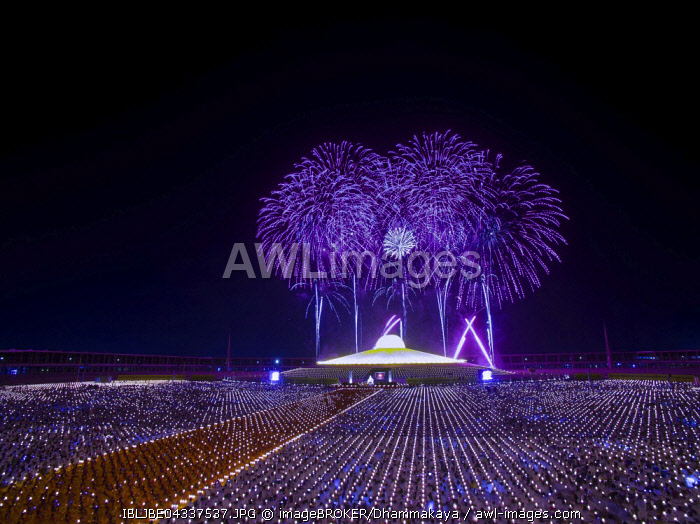 Awl Images Fireworks At The Wat Phra Dhammakaya Temple Chedi